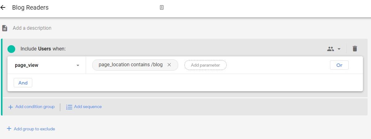 Audience creation app + web segments